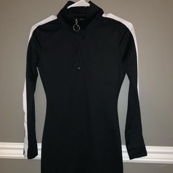 Derek Heart Dresses & Skirts - Black Bodycon Dress w/ white stripe sleeves